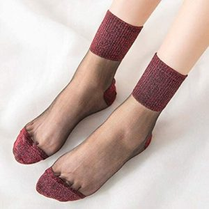 5 paires de chaussettes voile avec bordure supérieure, talon et orteils paillettes rouges