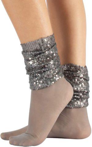 Chaussettes voile avec bordure supérieure sans élastique et paillettes argent