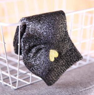 3 paires de Chaussettes à paillettes dorées avec coeur en or
