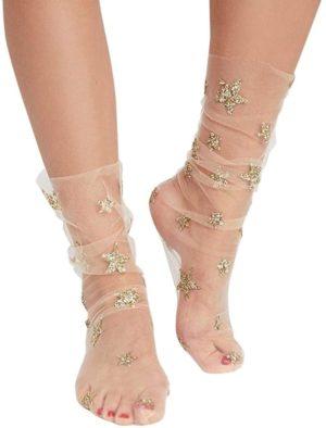 Chaussettes-bas transparentes motifs étoiles dorées paillettes