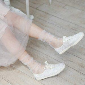 Chaussettes-bas transparentes paillettes étoiles argentées