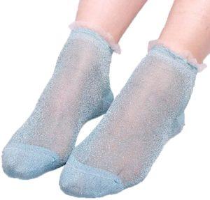 Socquettes bas transparents pailletés bleus