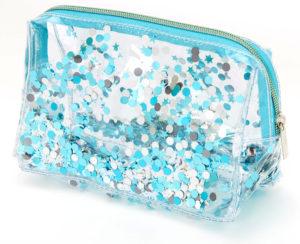 Trousse de maquillage transparente avec paillettes mobiles