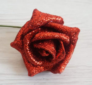Rose rouge à paillettes