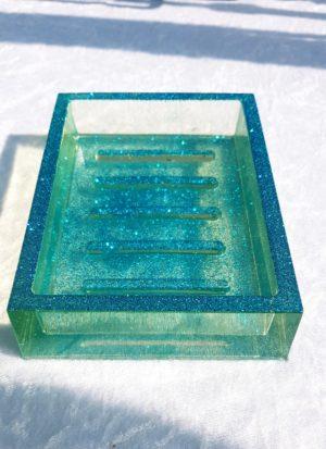 Porte-savons pailletés bleu