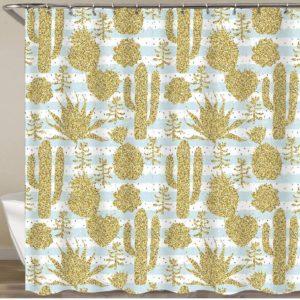Rideau de douche cactus paillettes dorés