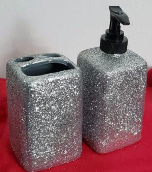 Support de brosse à dents et distributeur de savon paillettes argentées