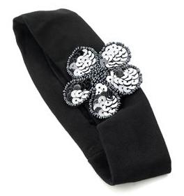Bandeau noir fleur à paillettes