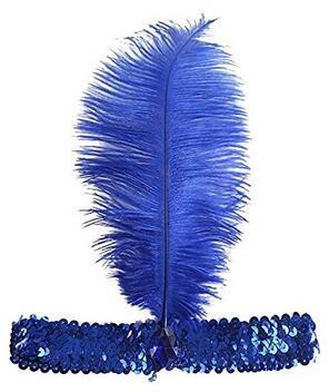 Bandeau paillettes bleu plume