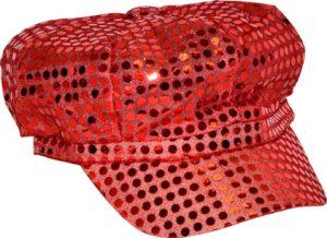 Casquette type Gavroche paillettes rouges