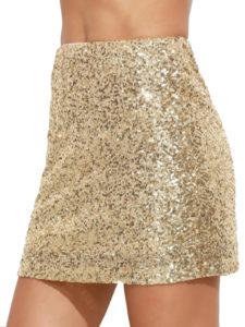 Mini-jupe paillettes dorées