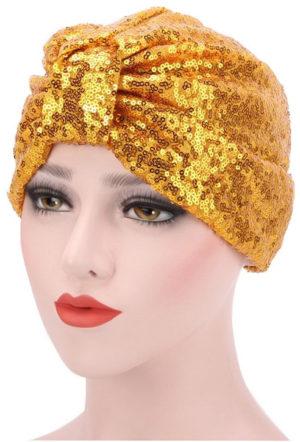 Turban doré à paillettes