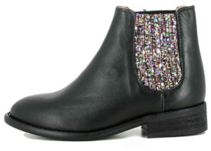 Boots cuir et élastiques à paillettes Chelsea