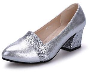 Chaussures paillettes talon moyen argent