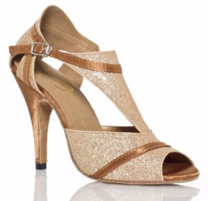 Sandales à talons hauts paillettes or