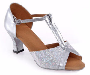 Chaussure danse talon paillettes argentées