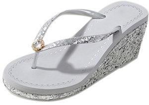 Sandales tongs talons argentées