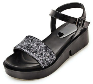 Sandalettes à paillettes noires
