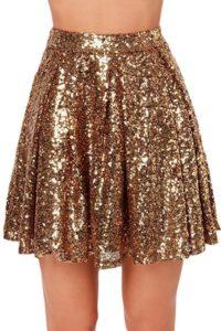 Jupe plissée paillettes dorées