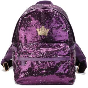 Sac à dos paillettes violet broderie couronne