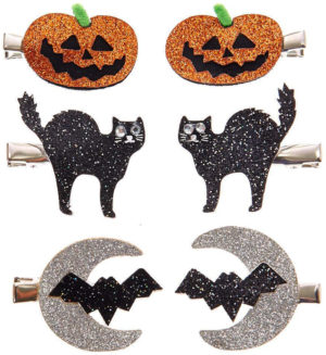 Lot de 6 barrettes à paillettes motifs Halloween
