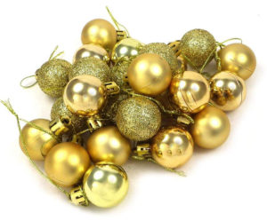 24 mini-boules décoratives de Noël mates, brillantes et avec paillettes