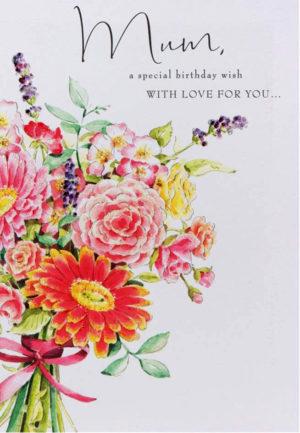 Carte postale anniversaire Lucy Cromwell maman fleurs paillettes