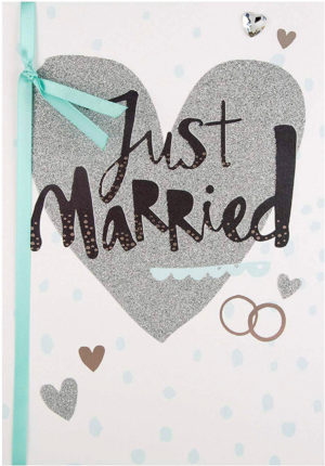 Carte de mariage paillettes Just Married Hallmark