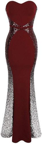 Robe longue rouge et paillettes