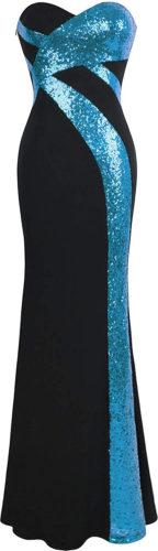 Robe noire et paillettes bleues