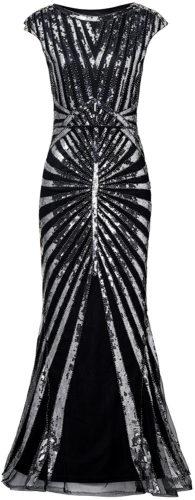 Robe longue paillettes noires et argentées art déco vintage années 20