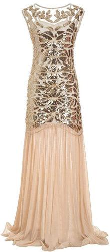 Robe longue champagen perle paillettes art déco vintage années 20
