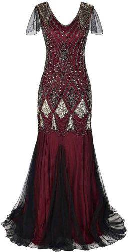 Robe longue rouge paillettes art déco vintage années 20