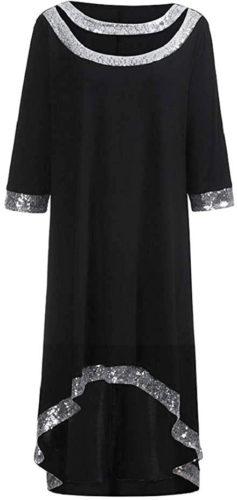Robe chemise noire et paillettes argentees