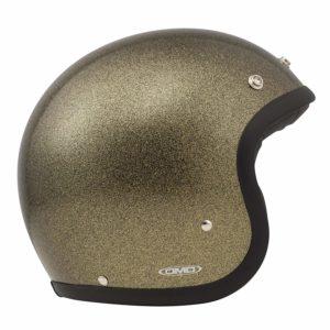 Casque moto paillettes bronze