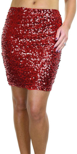 Mini-jupe extensible recouverte de paillettes rouges
